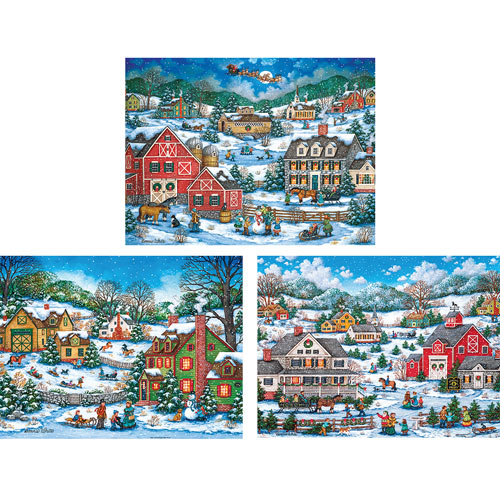 Set of 3: Bonnie White Holiday 550 Piece Jigsaw Puzzle