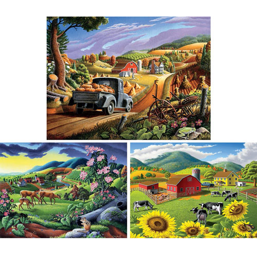 Set of 3: Walt Curlee 550 Piece Jigsaw Puzzles