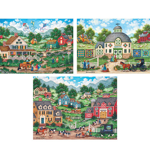 Set of 3: Bonnie White 550 Piece Jigsaw Puzzles