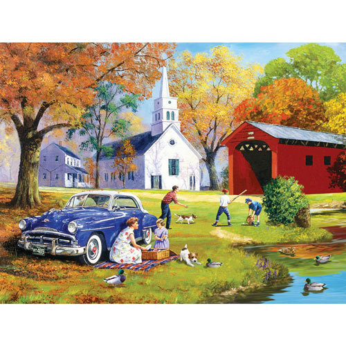 Family Time by the River 300 Large Piece Jigsaw Puzzle