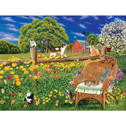 Cats, Flowers and Butterflies 300 Large Piece Jigsaw Puzzle