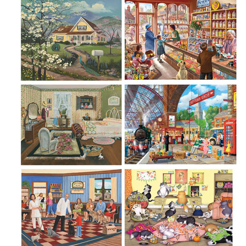 Set of 6: Peggy Knight 300 Large Piece Jigsaw Puzzles