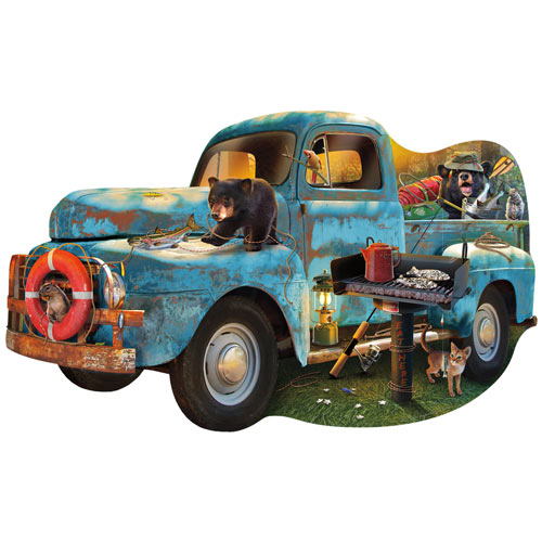 The Blue Truck 1000 Piece Shaped Jigsaw Puzzle