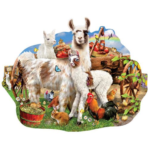 Llama Farm 1000 Piece Shaped Jigsaw Puzzle