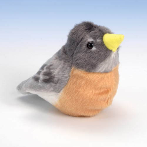 Singing Plush Song Bird - Robin