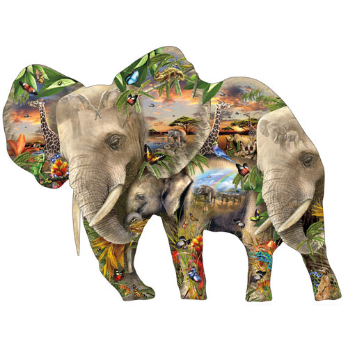 Elephantastic 1000 Piece Shaped Jigsaw Puzzle