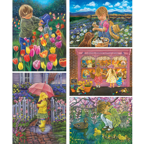 Set of 5: Tricia Reilly-Matthews 300 Large Piece Jigsaw Puzzles
