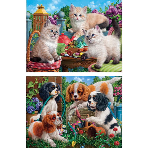 Set of 2: Garden Party 500 Piece Jigsaw Puzzles