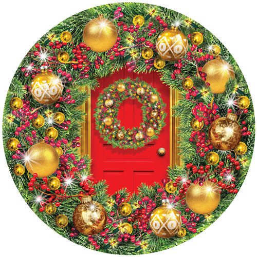 Green & Gold Wreath 1000 Piece Round Jigsaw Puzzle
