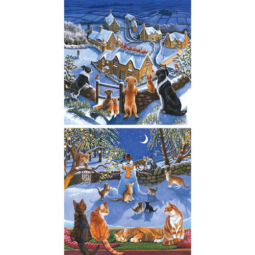 Set of 2: Chrissie Snelling Holiday 500 Piece Jigsaw Puzzles