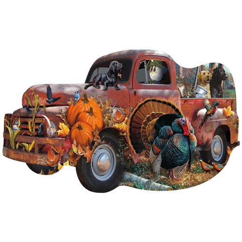 Harvest Truck 1000 Piece Shaped Jigsaw Puzzle