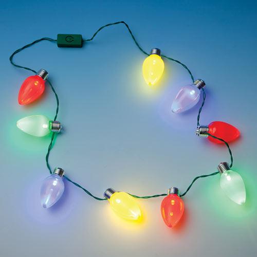 Jumbo Blinking Christmas Bulb Necklace