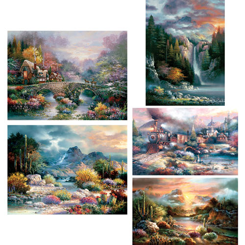 Set of 5: James Lee 1000 Piece Jigsaw Puzzles