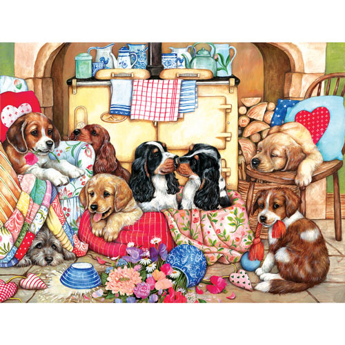 Puppies in the Kitchen 300 Large Piece Jigsaw Puzzle