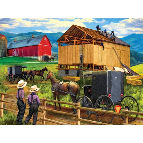 Raisin' the Barn 500 Piece Jigsaw Puzzle