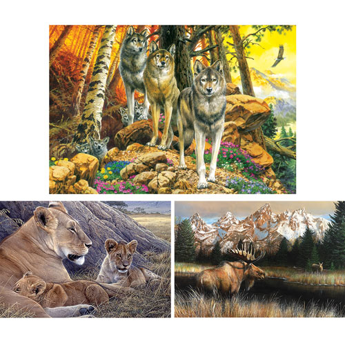Set of 3: Wildlife 500 Piece Jigsaw Puzzles