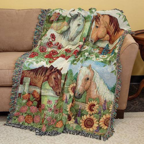 Horse In Florals Throw Blanket
