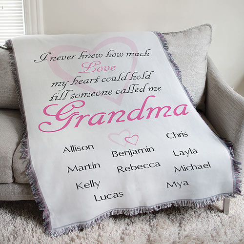 Personalized Grandma How Much Love Tapestry Throw Blanket
