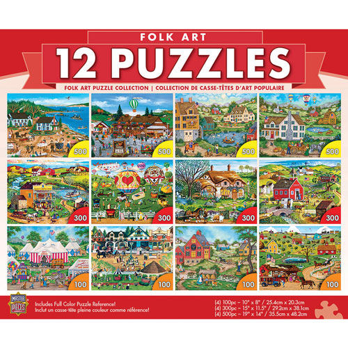 Folk Art 12 Pack Puzzle Collection