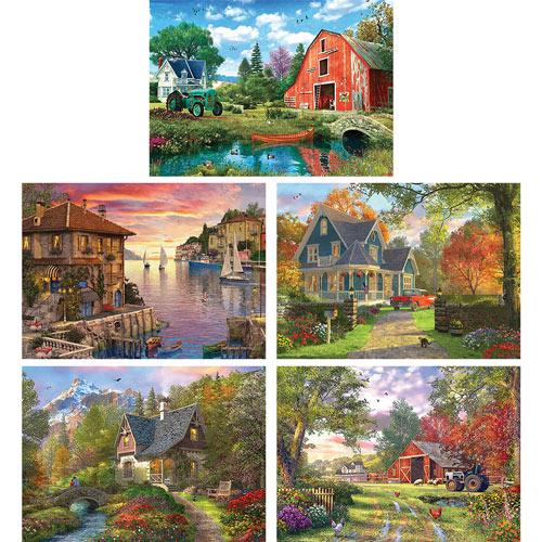 Set of 5: Dominic Davison 1000 Piece Jigsaw Puzzles
