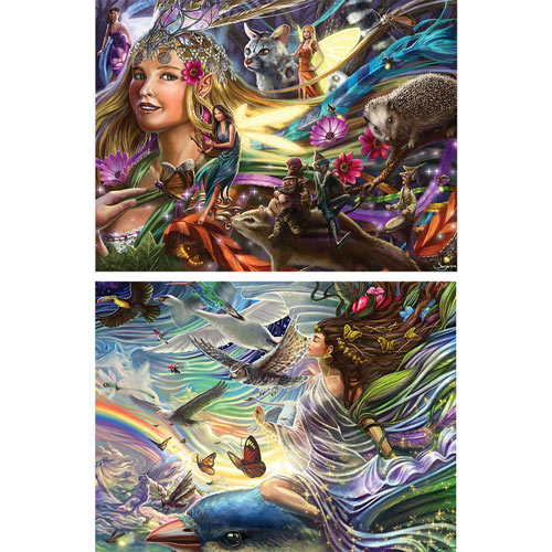 Set of 2: Silver Foil Fairy 750 Large Piece Jigsaw Puzzle