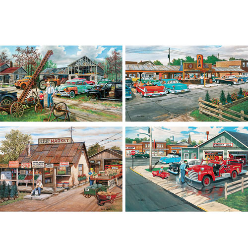 Set of 4: Ken Zylla 300 Large Piece Vintage Scenic Puzzles