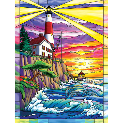 Dolphin Bay Lighthouse 300 Large Piece Jigsaw Puzzle