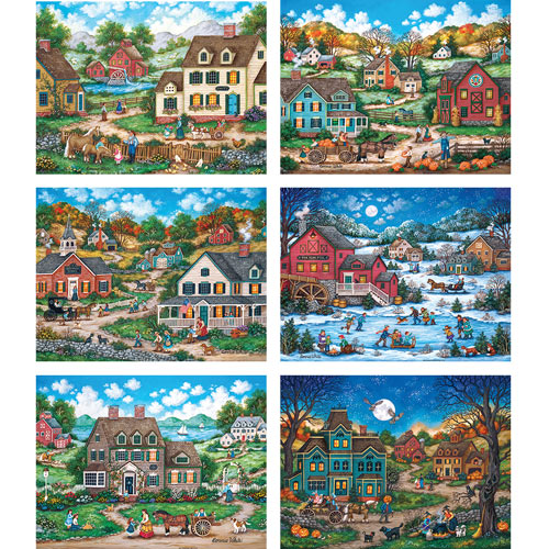 Set of 6: Bonnie White 300 Large Piece Jigsaw Puzzle