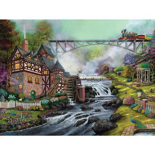 Cobblestone Mill Overpass 500 Piece Jigsaw Puzzle