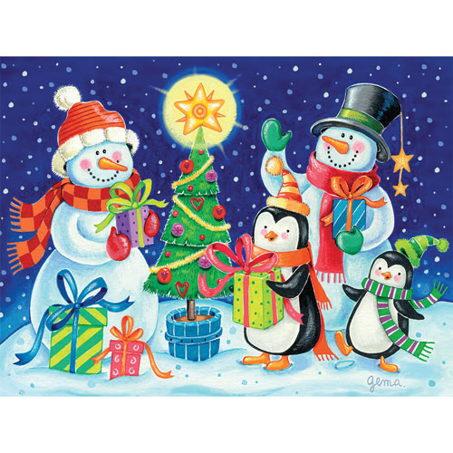 Snowy Gift Giving 300 Large Piece Jigsaw Puzzle