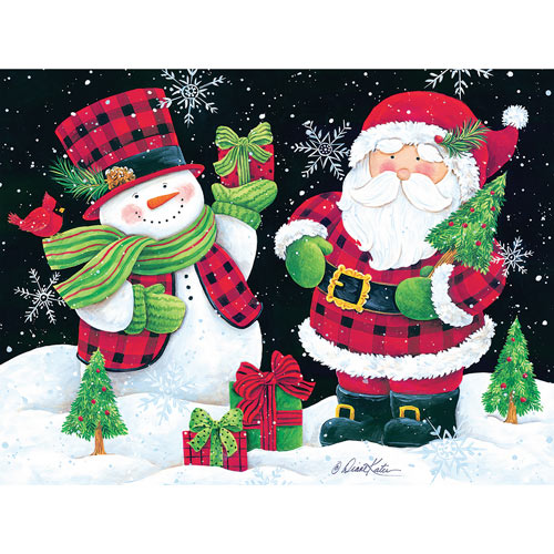 Plaid Snowman and Santa 300 Large Piece Jigsaw Puzzle