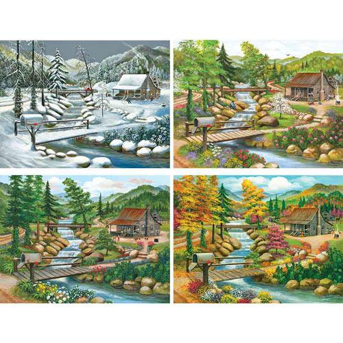 Set of 4: Peggy Myrick Knight Seasonal Cabin 1000 Piece Jigsaw Puzzle