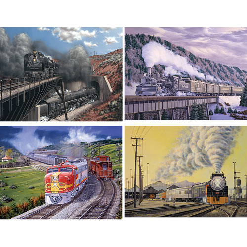 Set of 4: Marc Desoubeau 300 Large Piece Jigsaw Puzzles