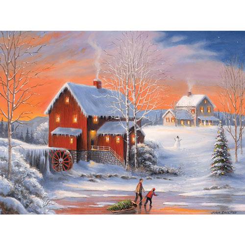 Winter At the Old Mill 300 Large Piece Jigsaw Puzzle