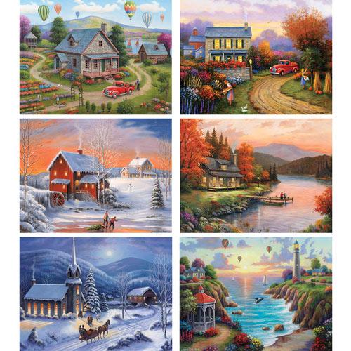 Set of 6: John Zaccheo 300 Large Piece Jigsaw Puzzles