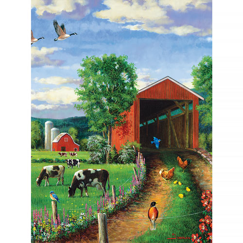 Chickens At The Bridge 500 Piece Jigsaw Puzzle