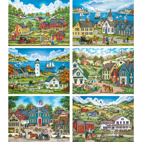Set of 6: Bonnie White 550 Piece Jigsaw Puzzles