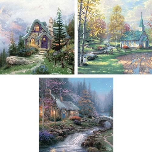 Set of 3: 550 Piece Kinkades Puzzles