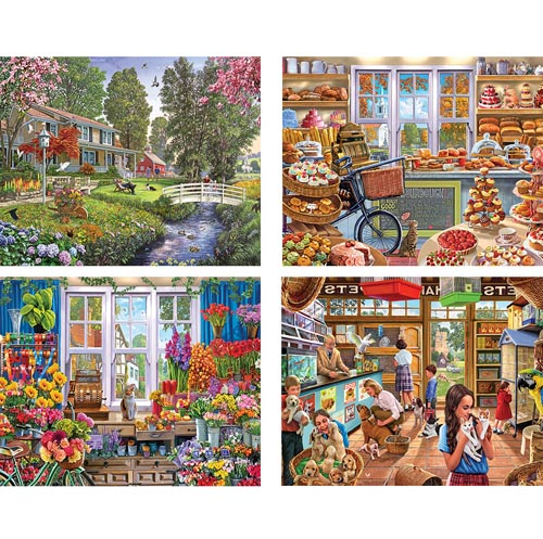 Set of 4: Steve Crisp 1000 Piece Jigsaw Puzzles