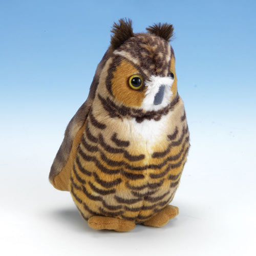 Singing Plush Song Bird - Great Horned Owl