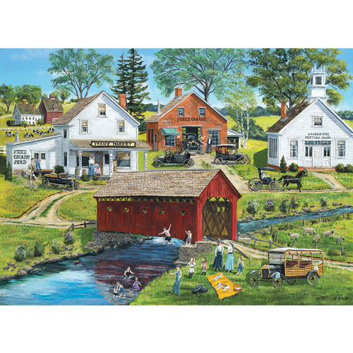 Old Covered Bridge 300 Large Piece Jigsaw Puzzle