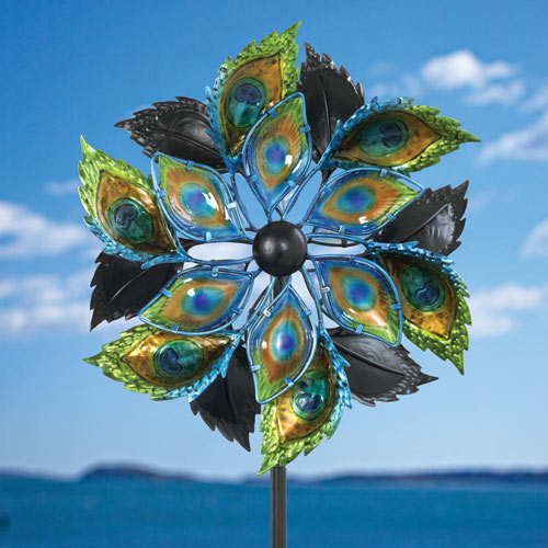 Peacock Feathers Wind Spinner