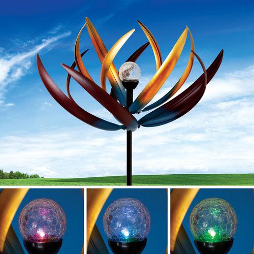 Solar Multi-Color Dahlia Wind Spinner