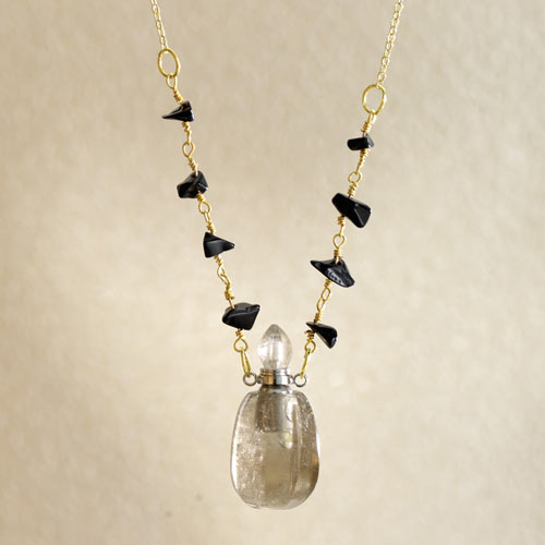 Perfume Bottle Pendant Necklace - Smokey Quartz