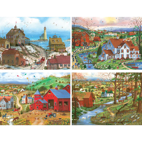 Set of 4: Mary Ann Vessey 300 Large Piece Jigsaw Puzzles