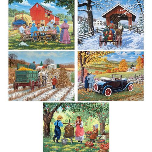 Set of 5: John Sloane 300 Large Piece Jigsaw Puzzles