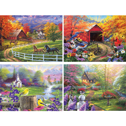 Set of 4: Abraham Hunter 500 Piece Jigsaw Puzzles
