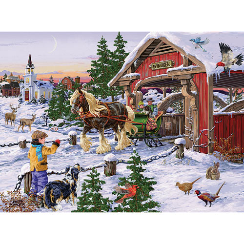 Winter Sleigh Ride 300 Large Piece Jigsaw Puzzle