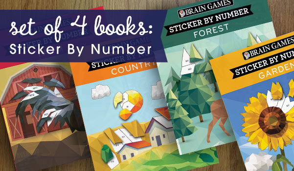 Set of 4: Sticker by Number Books