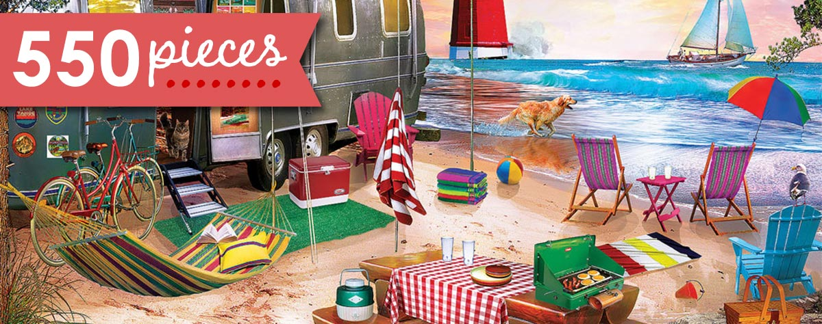 Oceanside Camping 550 Piece Jigsaw Puzzle